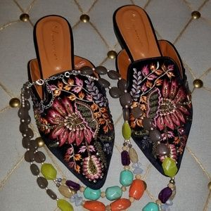 Anthropologie Embroidered Mules